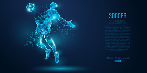 Abstract soccer player, footballer from particles on blue background. All elements on a separate layers, color can be changed to any other. Low poly neon wire outline geometric football player. Vector