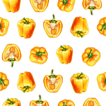 Yellow bell pepper. Watercolor seamless pattern of vegetables, raw yellow pepper. Hand-drawn healthy food.