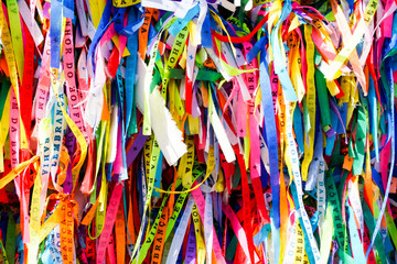 Fotobehang Paradijsvogel Igreja de Nosso Senhor do Bonfim, a catholic church located in Salvador, Bahia in Brazil. Famous touristic place where people make wishes while tie the ribbons in front of the church.