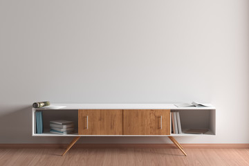 Blank wall mock up in living room interior with cabinet