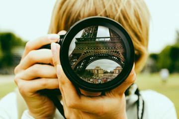 Eiffel tower lens reflection Wall mural
