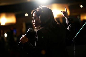Democratic presidential candidate and U.S. Senator Kamala Harris campaigns during a SEIU California Democratic Delegate Breakfast in San Francisco, California