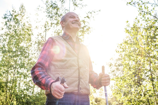 Summer sport for senior people. Nordic walking. Mature hispanic man hiking in green sunny forest. Active people outdoors