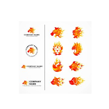 Animals fire template logo and letter placement