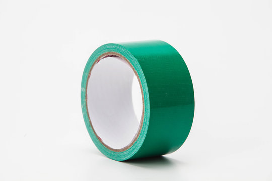 Electrical green tape isolated on white background