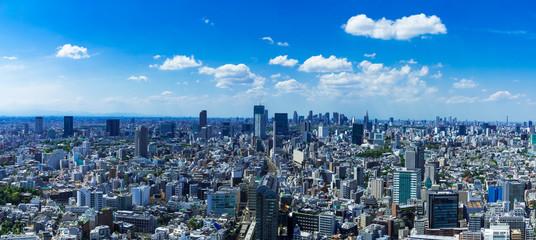 (東京都-風景パノラマ)高層ビルラウンジから望む新宿・渋谷方面の風景