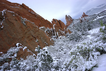 Colorado Springs, Garden of the Gods red rocks landscape with snow
