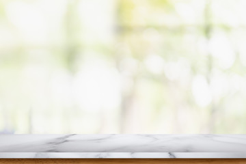 Empty marble table with blur living room interior background.