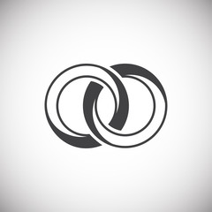 Wedding ring icon on background for graphic and web design. Simple illustration. Internet concept symbol for website button or mobile app.