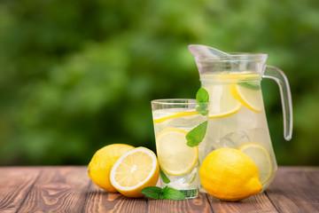lemonade in glass and jug