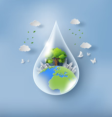 World Environment Day concept, water drop with earth, tree and city, paper art and craft style, flat-style vector illustration.