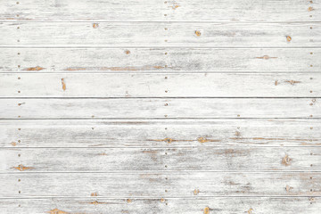 Vintage white wood background - Old weathered wooden plank painted in white color. Wall mural