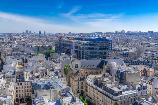 Paris, panorama of the city, with the Pompidou center, and the Saint-Merri church