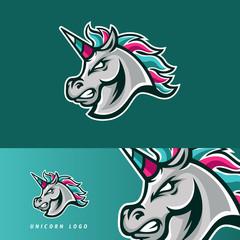 Colorful unicorn horse esport gaming mascot logo template