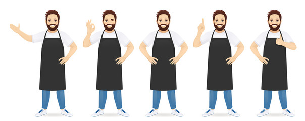 Handsome man in black apron standing with different gestures set isolated vector illustration