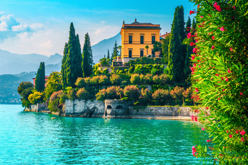 Wall Mural - Picturesque gardens and holiday villas with lake Como, Varenna, Italy