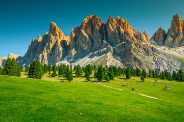 Wall Mural - Fantastic summer alpine landscape with high cliffs, Dolomites, Italy