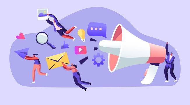 Marketing Team Work with Huge Megaphone, Communication, Alert Advertising, Propaganda, Speech Bubbles and Social Media Icons. Public Relations and Affairs, Pr Agency Cartoon Flat Vector Illustration