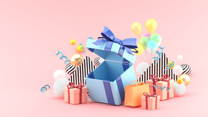 Gift Box and Shopping Bag amid colorful balls on pink background.-3d rendering.
