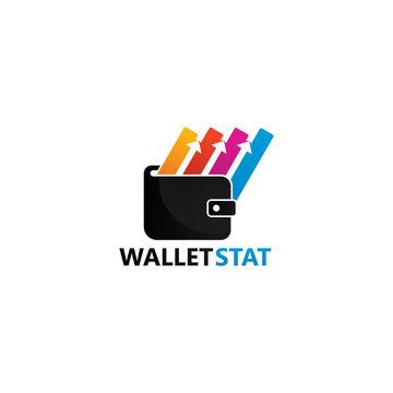Wallet Statistic Logo Template Design Vector, Emblem, Design Concept, Creative Symbol, Icon