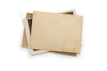 Stack of old photos with clipping path for the inside