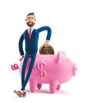 3d illustration. Portrait of a handsome businessman with piggy bank. Safe money storage concept.