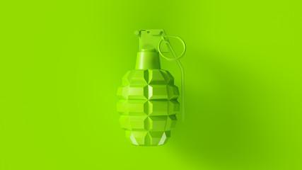Lime Green Grenade Concept 3d illustration 3d render