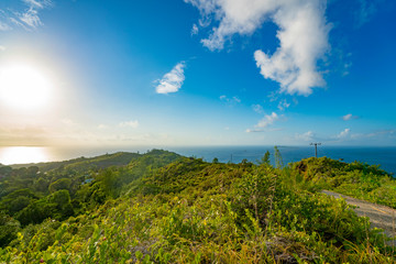 Panoramic view on seychelles islands from  mountain,  Seychelles