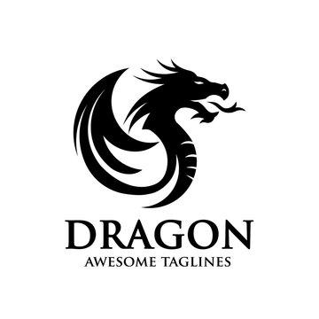 creative dragon silhouette circle logo design vector illustration