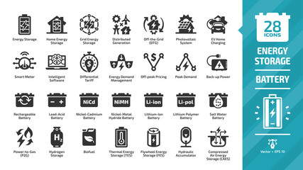 Energy storage icon set with distributed generation, solar panel system, off the grid, EV home charging, demand management, rechargeable battery and more glyph symbols.