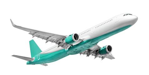 White - turquoise passenger aircraft isolated on white background (design element) Fototapete