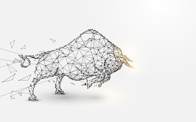 Angry Bull. lines, triangles and particle style design. Illustration vector