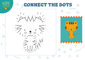Connect the dots kids game vector illustration. Preschool children drawing activity