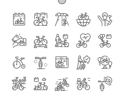 World Bicycle Day Well-crafted Pixel Perfect Vector Thin Line Icons 30 2x Grid for Web Graphics and Apps. Simple Minimal Pictogram
