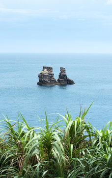 Landscape View of Twin Candlestick Islets (Husband and Wife Rocks) at the North Coast of Taiwan, Jinshan District , New Taipei, Taiwan