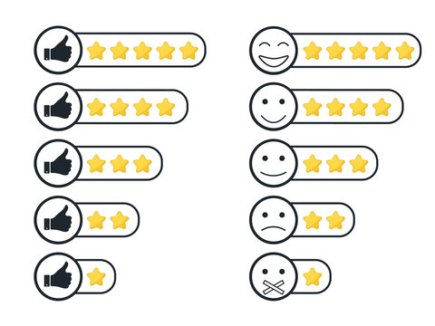 Rating stars badges.Consumer rating. Feedback in form of emotions, smileys.