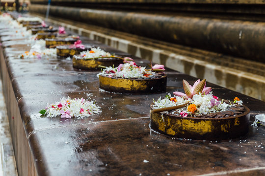 Cankamana (Cloister Walk) where The Lord Buddha walking on these platforms with blooming lotus and flowers in Mahabodhi Temple while raining at Bodh Gaya, Bihar, India