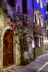The streets of Rethymno city at night time. Crete island, Greece