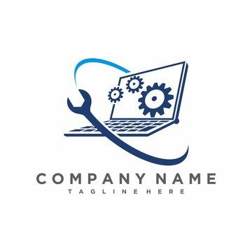 laptop service logo, service the computer logo vector icon ilustration