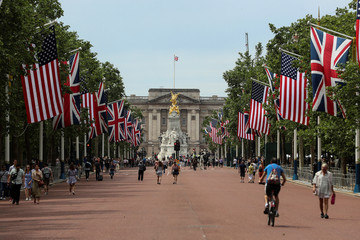 U.S. and British flags stretch along The Mall towards Buckingham Palace in central London in advance of U.S. President Donald Trump State visit to Britain