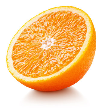 Ripe orange half isolated on white background. Orange citrus fruit with clipping path. Full depth of field.