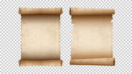 Old paper aged blank scrolls, two old parchments isolated Wall mural