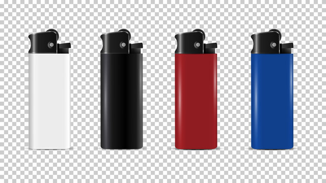 Plastic Lighter disposable realistic 3d vector isolated, mock up