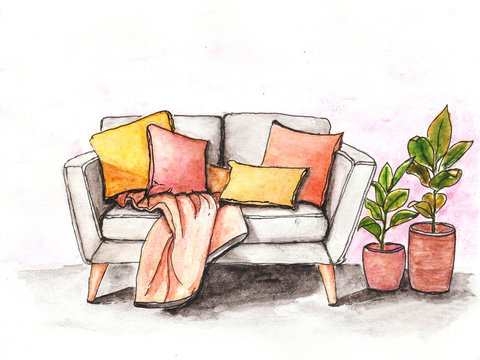 watercolor illlustrate cozy grey sofa with colorful pillows and pink rug and two rubber plants in clay pots