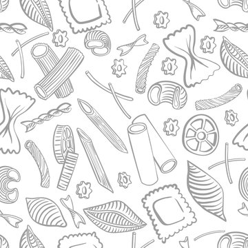 seamless pattern with italian macaroni of different kinds. light coloured hand draw on white background