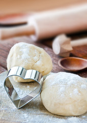 Baking form and dough in the kitchen