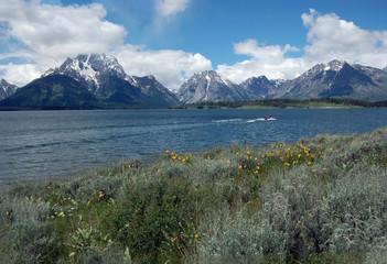 Jackson Lake at Hermitage Point near Colter Bay in Grand Teton National Park