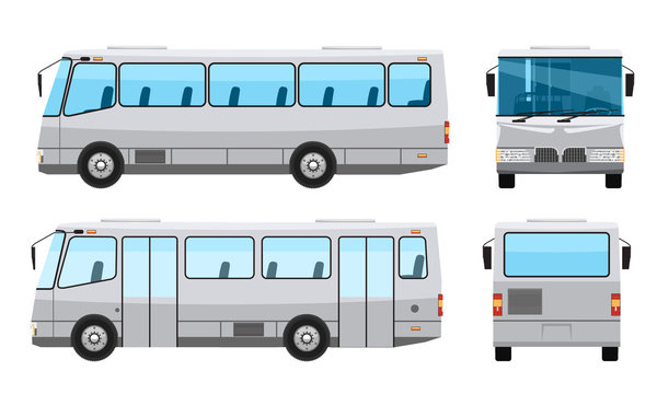 City public bus with flat and solid color style design. Side front and back view. Transparent window glasses. Vector illustration.