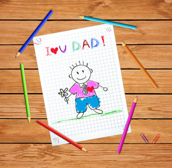 I Love You Dad Baby Drawing, Dad Hold Flower Card
