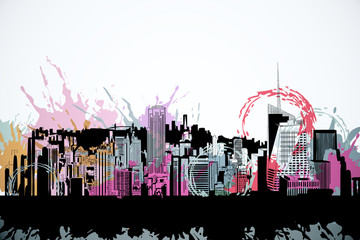 Wall Mural - Bright city drawing